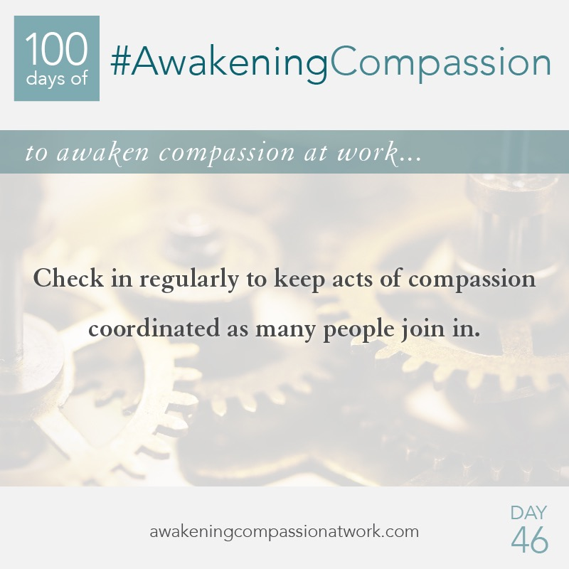 Check in regularly to keep acts of compassion coordinated as many people join in.