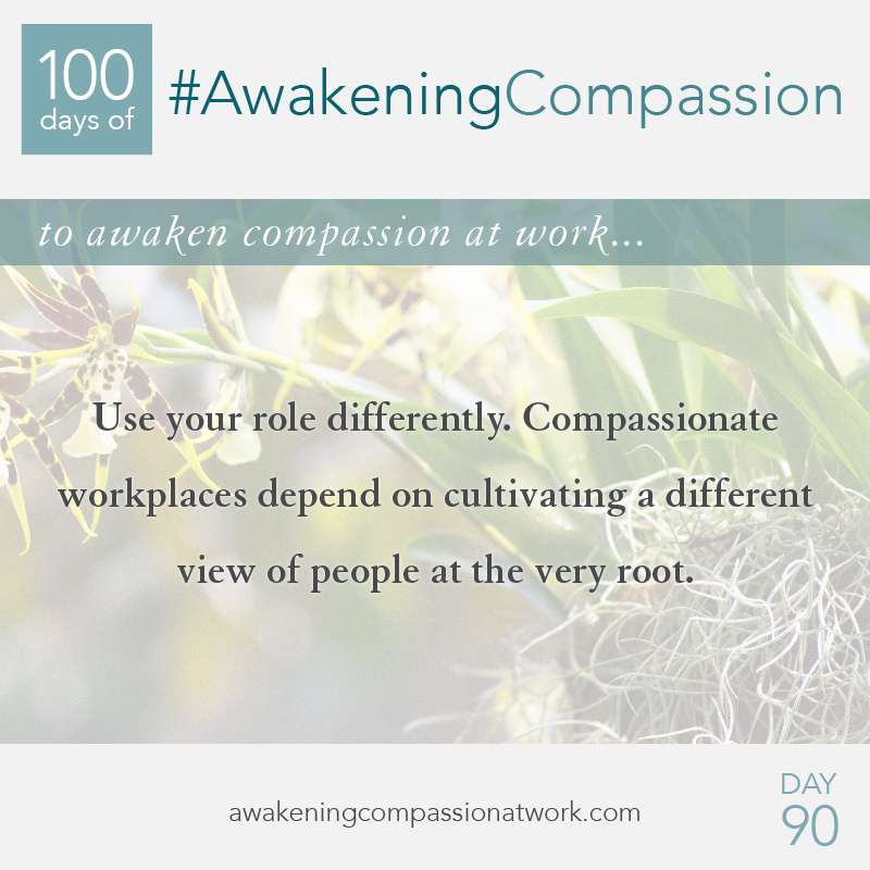 Use your role differently. Compassionate workplaces depend on cultivating a different view of people at the very root.