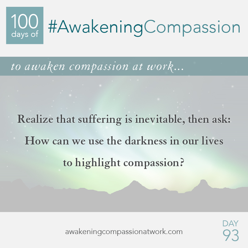 Realize that suffering is inevitable, then ask: How can we use the darkness in our lives to highlight compassion?