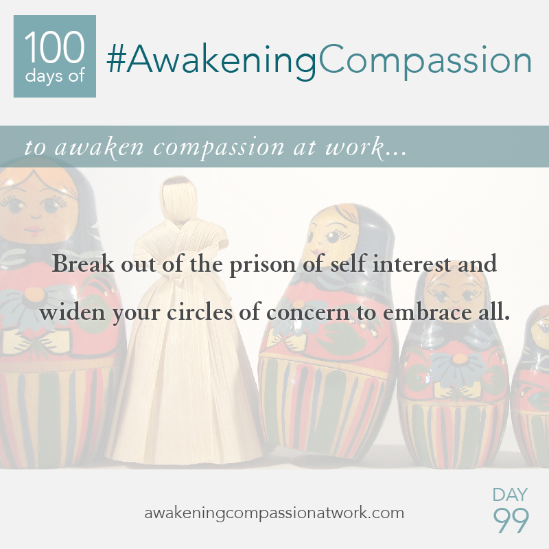 Break out of the prison of self interest and widen your circles of concern to embrace all.