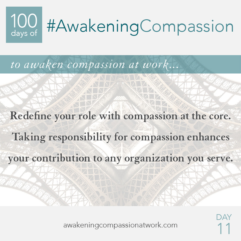 Redefine your role with compassion at the core. Taking responsibility for compassion enhances your contribution to any organization you serve.