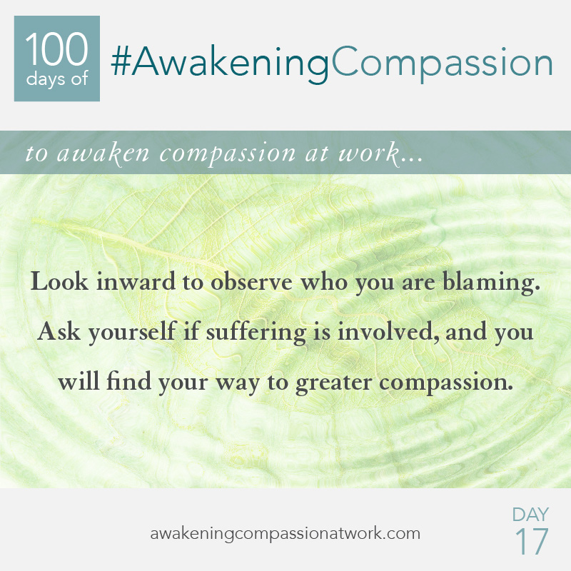 Look inward to observe who you are blaming. Ask yourself if suffering is involved, and you will find your way to greater compassion.