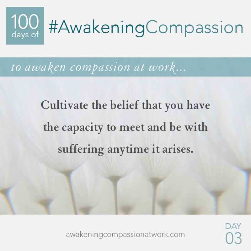 Cultivate the belief that you have the capacity to meet and be with suffering anytime it arises.