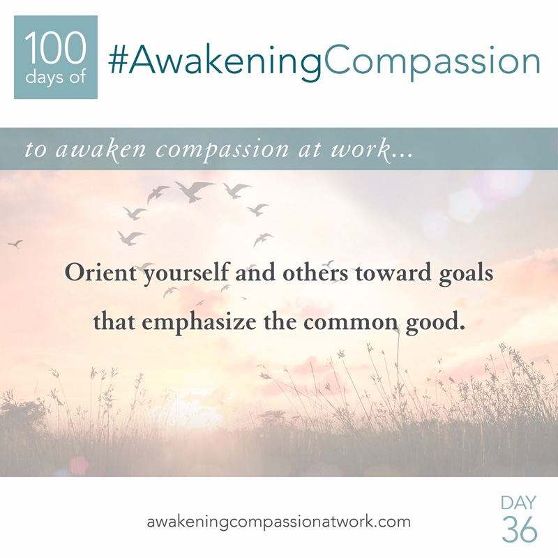 Orient yourself and others toward goals that emphasize the common good.