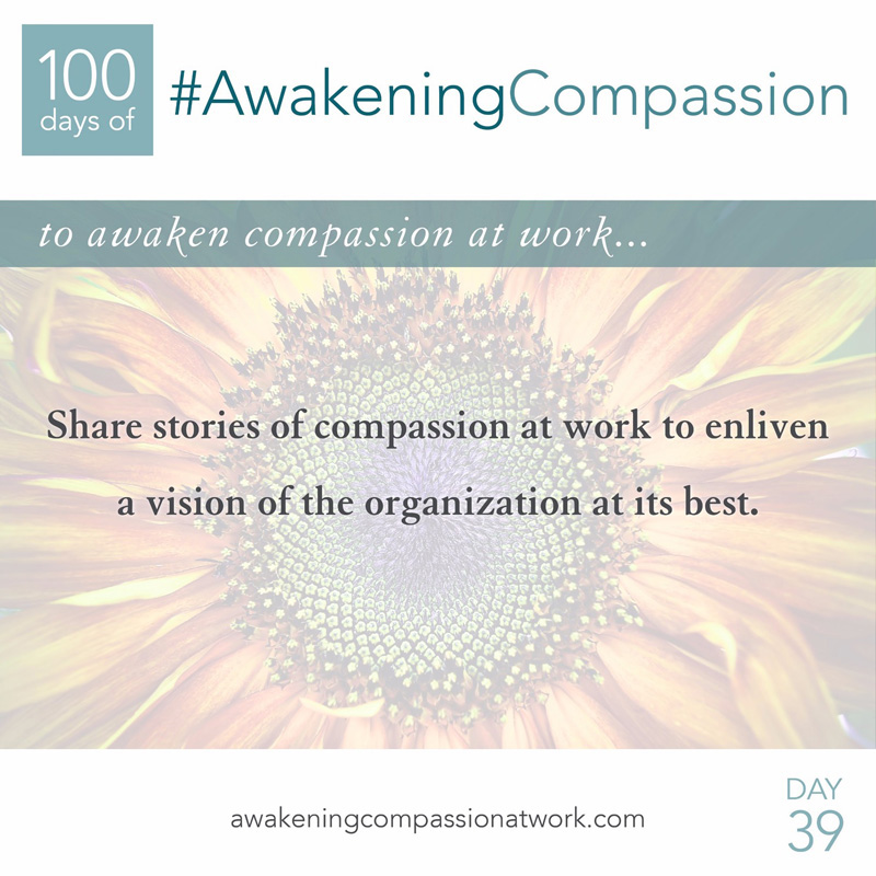 Share stories of compassion at work to enliven a vision of the organization at its best.