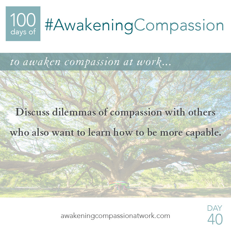 Discuss dilemmas of compassion with others who also want to learn how to be more capable.