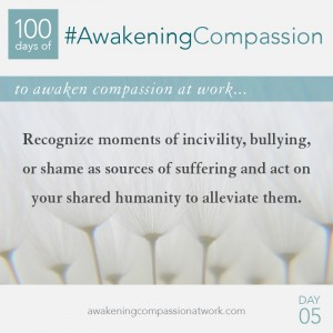 Recognize moments of incivility, bullying, or shame as sources of suffering and act on your shared humanity to alleviate them.